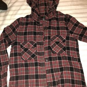 Forever 21 Tops - Red Hooded Flannel